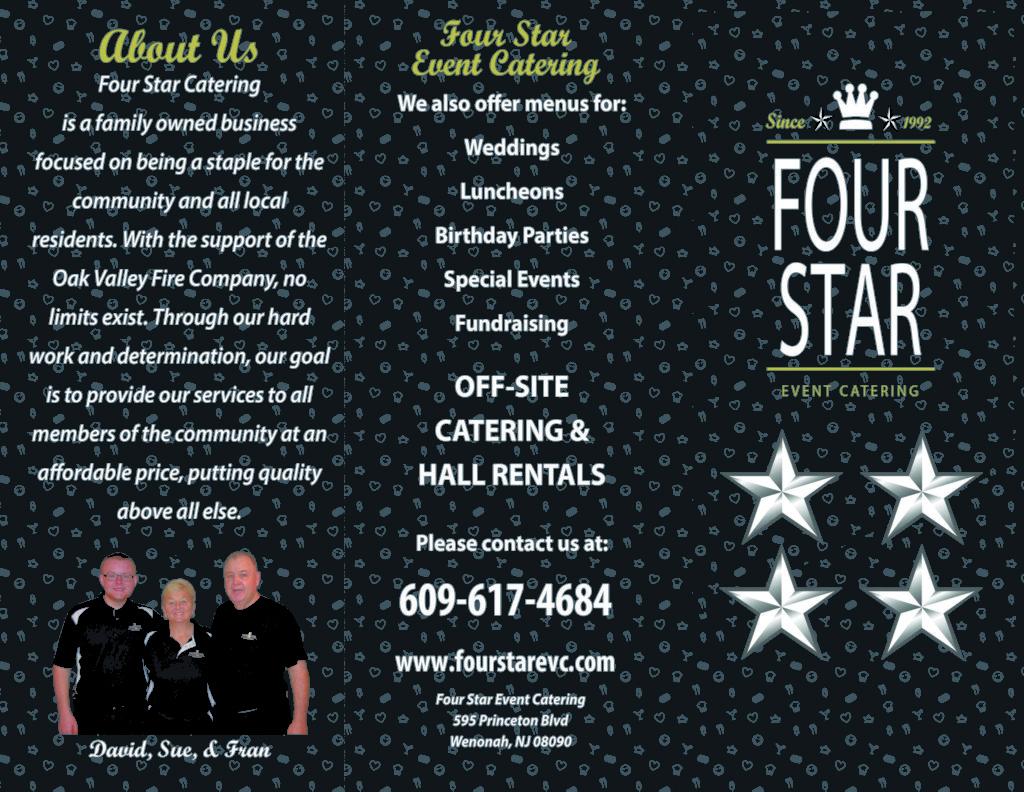 Menu – Four Star Event Catering