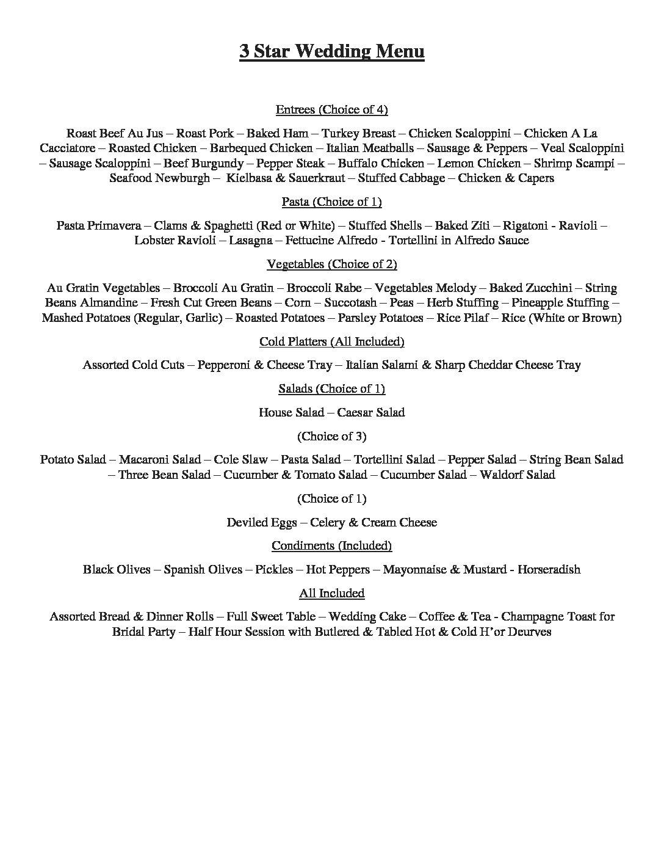 Wedding menus four star event catering wedding menus junglespirit Images